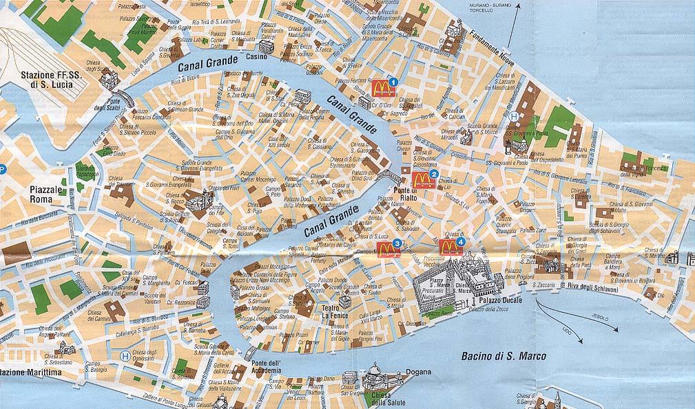 Venedig Karte Mit Sehensw 252 Rdigkeiten Hanzeontwerpfabriek